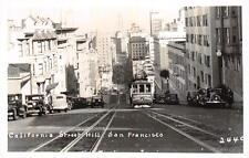 RPPC STREET HILL SAN FRANCISCO CALIFORNIA CARS & TROLLEY REAL PHOTO POSTCARD
