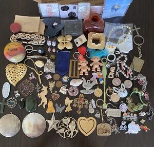 Junk Drawer Lot Jewelry Pins Yo-Yo Pendants Troll Doll Key Chains