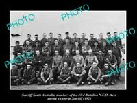 OLD LARGE HISTORIC PHOTO OF AUSTRALIAN ARMY 43rd BATTALION AT SEACLIFF c1926