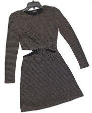 Topshop Long Sleeves Cutout Knot Metallic Stretchy Skater Dress Black US 4 NWT