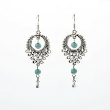 Worth-while Ethnic Vintage Hollow Out Turquoise Tassels Dangle Drop Earrings FR