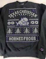 TCU Horned Frogs Sweatshirt Ugly Christmas Adult SZ S/M Long Sleeve Alumni Grad