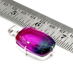 "925 Sterling Silver Tourmaline Gemstone Handmade Jewelry Pendant Size-1.50"""