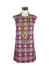 MIKA & GALA Dress - Geometric Floral Shift Zip Boho Pink Black Green Yellow - 6
