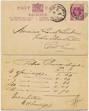 MAURITIUS 1937 STATIONERY CARD KG5 ARGY + GPO CDS...VICTORIA