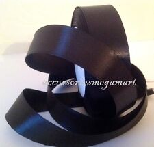 1m Satin ribbon 25mm single sided 1 inch wide party wedding decor BLACK