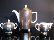 ART DECO WMF/HUTSCHENREUTHER COFFEE SET,SILVER PLATED,THERMO POT,MILK UND SUGAR