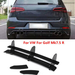 Fit For Volkswagen VW Golf 7.5 R Black Rear Bumper Diffuser Lip Spoiler Kit