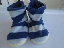 NEW Boy Toddler Medium 9-10 OLD NAVY Cozy Fleece Slippers NWT Blue Gray Striped