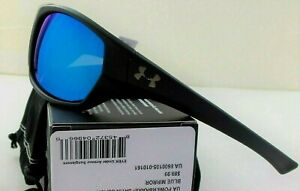 Under Armour Powerbrake Sunglasses Satin Black Blue Mirror Microfiber Pouch New