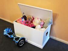 3F Solid Pine Blanket (Toy) Box in White Children Furniture Home Storage