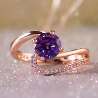 Fashion Rose Gold Filled Round Cut Amethyst Women Party Cocktail Rings Size 6-10