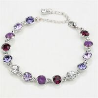 Multi color Austrian Crystal Rhinestone White Gold Plated Adjustable Bracelet