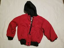 Kuntry Kids farm Youth Med Lined Red Denim Hooded Jacket Chore Play Heavy duty