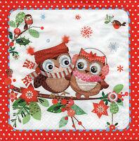 4 Motivservietten Servietten Napkins Tovaglioli  Weihnachten Eule Eulen (127)