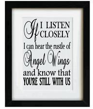 Autocollant Vinyle 17 x 17cm si j' écoute, je peux entendre le bruissement de ailes d'ange