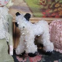 Vtg CHENILLE CAT Pipecleaner Dollhouse Animal SPARKLY KITTEN Miniature B&W Pet