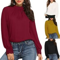 Fashion Women Solid Pleated Round Neck Lace Tops Long Sleeve Casual Shirt Blouse