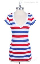 Cotton Multi-Color Striped Short Sleeve V Neck Top Casual easy Wear Cotton S M L