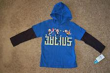 NWT Boys Paul Frank Long Sleeve Hooded Print Shirt Blue Size 4T Really cute LQQK