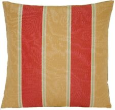 """Stripes Cushion Cover Red & Mustard English Traditional Water Mark Fabric 16"""""""
