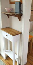 H75 W50 D20cm BESPOKE CONSOLE STAND TABLE DRAWER WHITE SATIN WARM OAK WAXED TOP