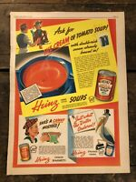 RARE Vintage 1938 Heinz Soups Beans Spaghetti Ad Color Illustrated 11.5x15 inch