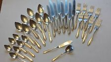 VINTAGE ANTIQUE SILVER PLATE FLATWARE SET WR A1 Service for 8 ART DECO 33 PIECES