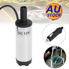 AU 12V 38mm Electric Submersible Water Pump Oil Fuel Transfer Refueling +Lighter