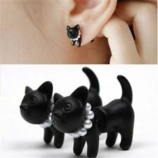2 PC Black Punk Cool Simple Stereoscopic Cat Kitten Impalement Lady Stud Earring