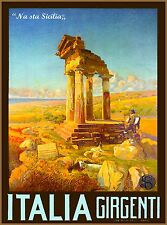 Agrigento Sicily Italia Girgenti Italy Vintage Travel Advertisement Poster