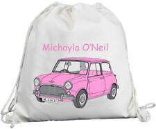 Personalised - Pink Mini Car - Natural (Cream) Cotton Rucksack / Backpack / PE