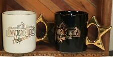 Universal Studios Hollywood Gold Star Handle Mug Cup Lot of 2 Black and White
