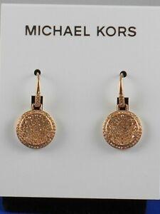 Michael Kors Rose Gold BRILLIANCE Pave' Concave Disc Drop Earrings MKJ2074 791