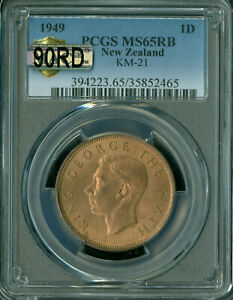 1949 NEW ZEALAND PENNY PCGS MAC MS-65 RB 90RD 90% RED GORGEOUS*