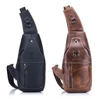 BULLCAPTAIN Herren Sling Bag aus echtem Leder Brust Schulter Rucksack C8N7