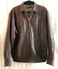 Polo Ralph Lauren Men's Brown Lambskin Leather Jacket  Full Zip Sz Medium Soft