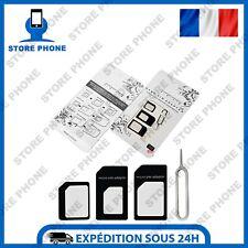 Kit Adaptateur Carte Sim 4 En 1 Micro Nano Sim iPhone Samsung Huawei Etc Noir