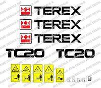 Terex Tc20 Etiquetas de la Excavadora y Pegatinas De Advertencia