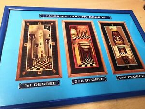 Masonic Tracing Board prints All 3 degrees on blue in blue frame 31 x 21cm
