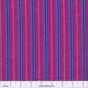 Laurel Burch LAUREL LAND Triangle STRIPE Dots VIOLET Fabric By the FQ -1/4 YD