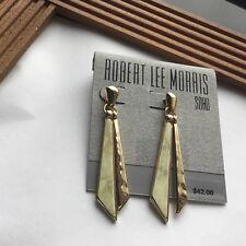 ROBERT LEE MORRIS HAMMERED GOLD  DANGLING  PATTERNED EARRINGS