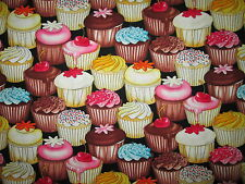 CUP CAKES CUPCAKES BAKERY SWEETS COTTON FLANNEL FABRIC FQ