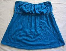 OLD NAVY Aqua Blue Knit Stretch Ruffle Boho Tube Strapless Tunic Summer Top S