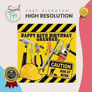 WORKMAN TOOLS SQUARE EDIBLE CAKE TOPPER BIRTHDAY DECORATION PERSONALISED