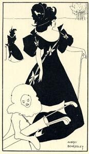 "Original 1899 line block print by Aubrey Beardsley – ""Design for a Golf Card"""