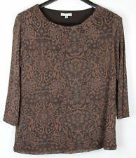 CROFT & BARROW Petite Women's Double Layer Top Brown Size PXL