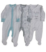 BABY BOYS EX STORE 3 PACK BABYGROWS - 3 DIFFERENT DESIGNS - SLEEPSUITS BABYGROW