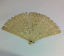 Large Antique Chinese Carved Brise Cattle Bovine Bone Hand Fan Deceased Estate