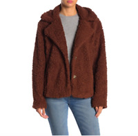 Caslon Womens Size PM Petite Medium Fleece Faux Shearling Jacket Brown NEW